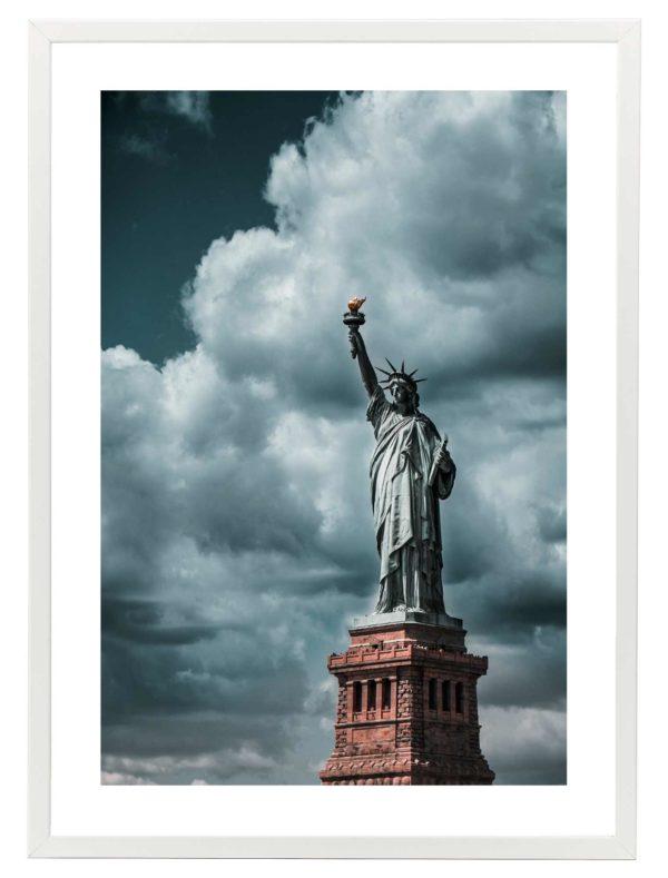 Lámina Estatua de la Libertad Marco Blanco