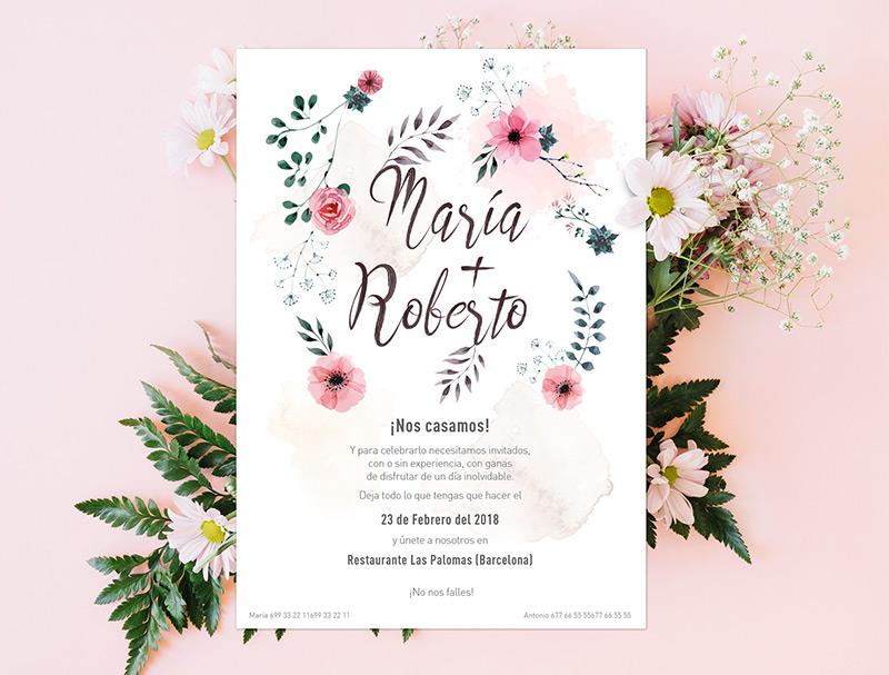 invitacion boda flores acuarela