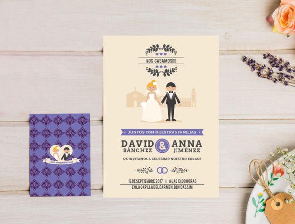invitacion-boda-retro-violeta