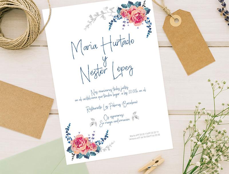 invitacion boda vintage flowers