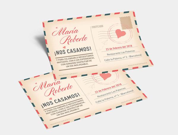 invitacion-boda-vintage-postcard