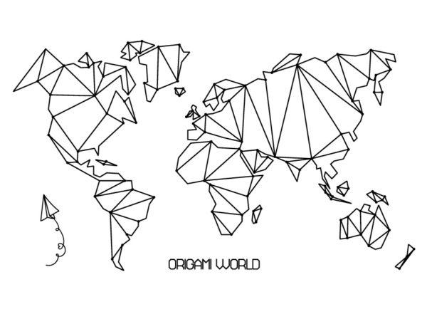 Vinilo mapa mundi origami sin fondo