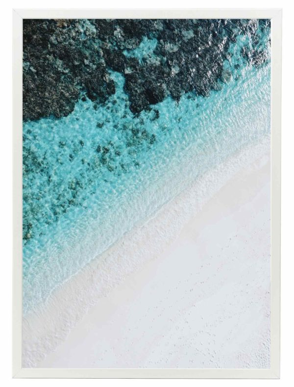 Lámina Playa Turquesa Marco Blanco