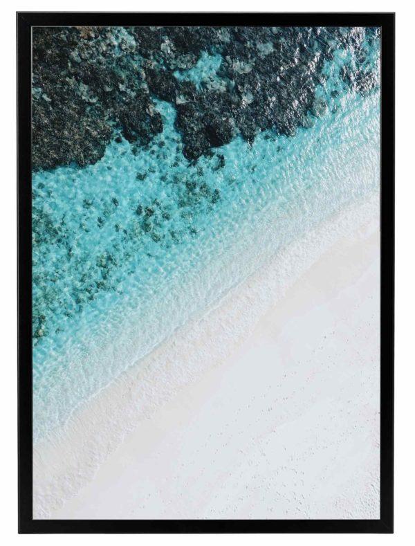Lámina Playa Turquesa Marco Negro