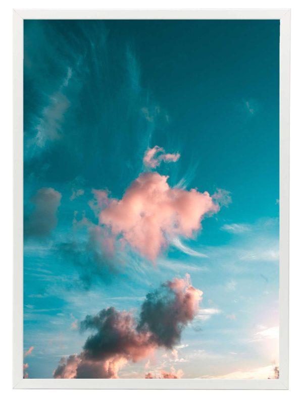 Lámina Nube Rosa Marco Blanco
