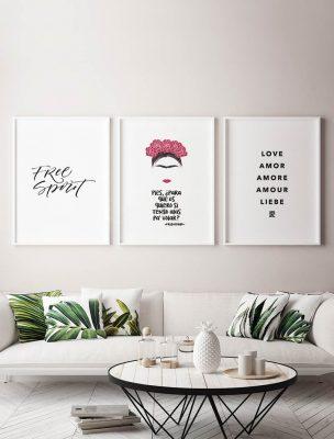 Composición Láminas Frida Kahlo Lettering