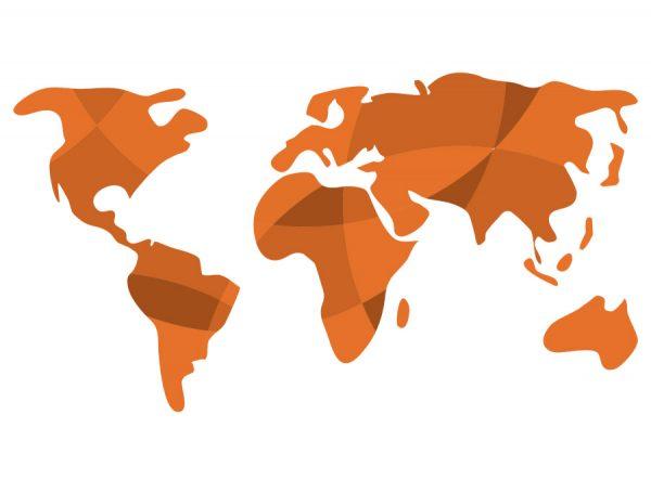 Vinilo mapa mundi naranja abstracto