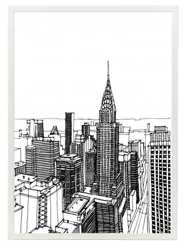 Lámina Dibujo Nueva York Marco Blanco