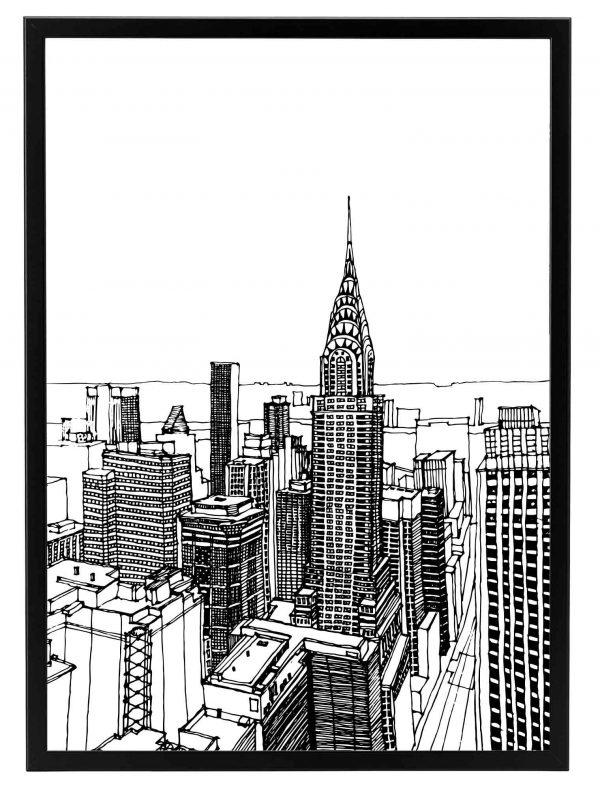 Lámina Dibujo Nueva York Marco Negro