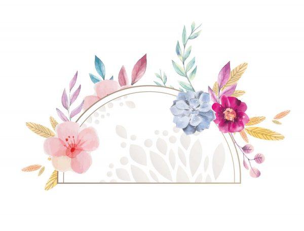 Diseño cabecero floral multicolor