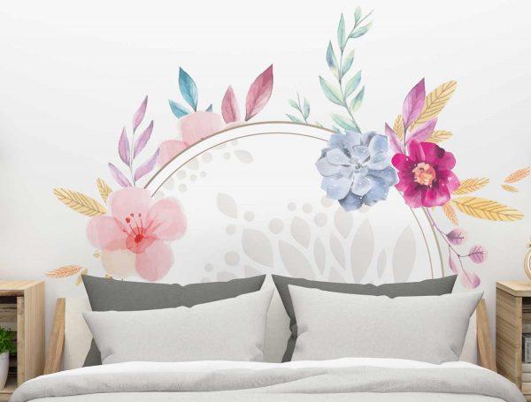 Cabecero floral multicolor detalle