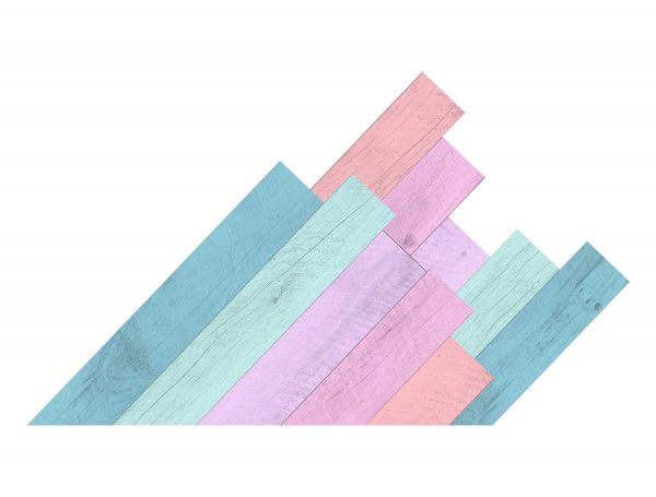 Diseño cabecero tablas multicolor