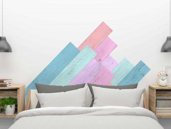 Cabecero tablas multicolor detalle