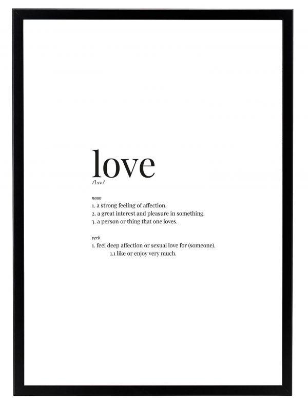 Lámina Love Marco Negro