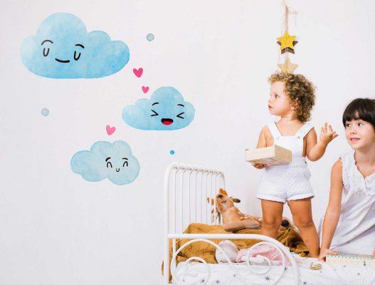 Vinilo Pared Nubes Infantil