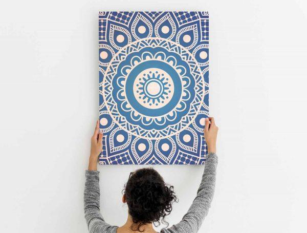 Ambiente-Cuadro-Madera-Mandala-Azul