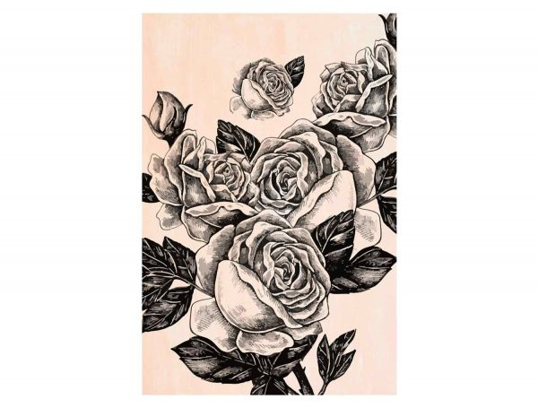 Cuadro-Madera-Rosas-Negras