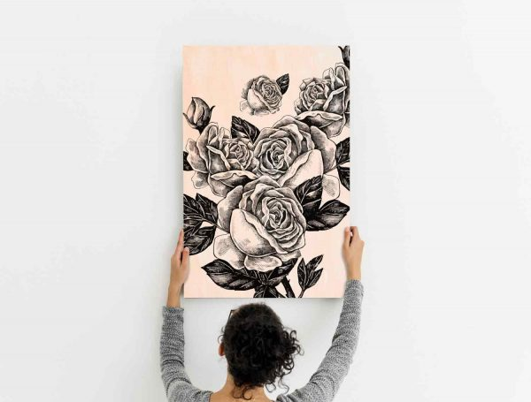 Cuadro-Madera-Rosas-Negras-Ambiente