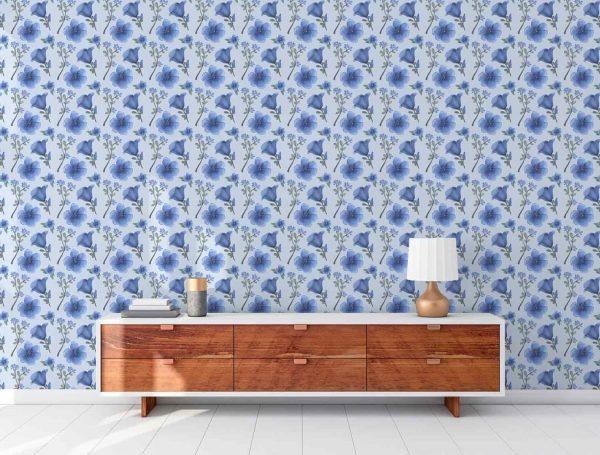 Papel-Pintado-Flores-Azules