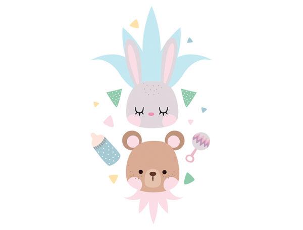 vinilo-pared-bebe-oso-y-conejo