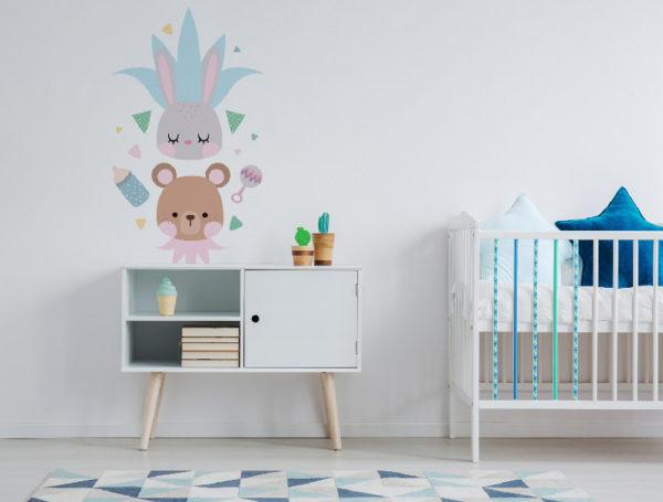 vinilo-pared-kids-oso-conejo-aplicado