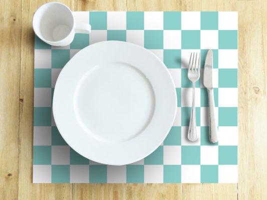 Ambiente-Mesa-individuales-Azulejos-Ajedrez-Azul