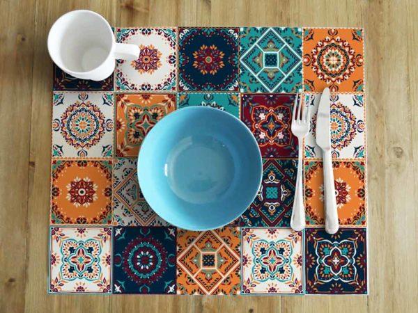 mantel individual baldosas hidráulicas mesa