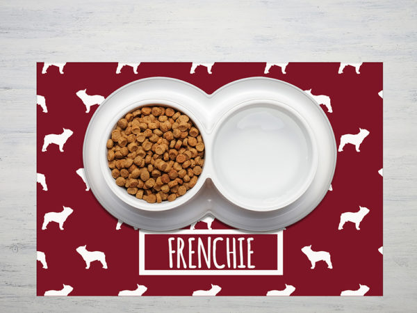 Bowl of cat food on wooden background, top view