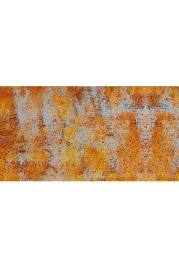 Alfombra vinílica Óxido en tonos naranjas y detalles en azul claro talla L 150x80 cm