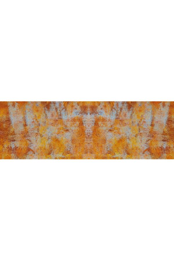 Alfombra vinílica Óxido en tonos naranjas y detalles en azul claro talla M 180x60 cm