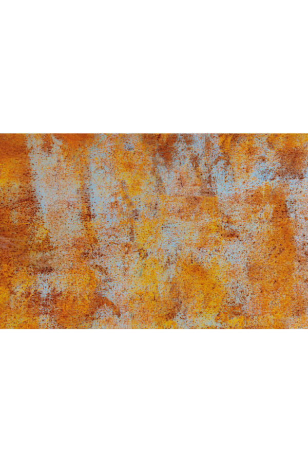 Alfombra vinílica Óxido en tonos naranjas y detalles en azul claro talla S 95x60 cm