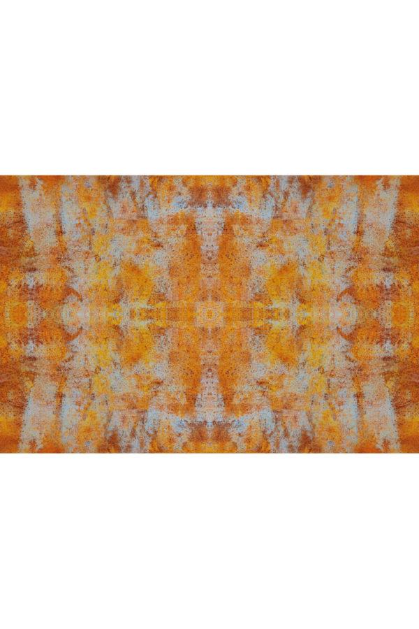 Alfombra vinílica Óxido en tonos naranjas y detalles en azul claro talla XL 196x130 cm
