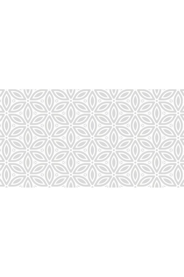 Alfombra vinílica Patrón Flores Vintage en gris suave y diseño en blanco talla L 150x80 cm