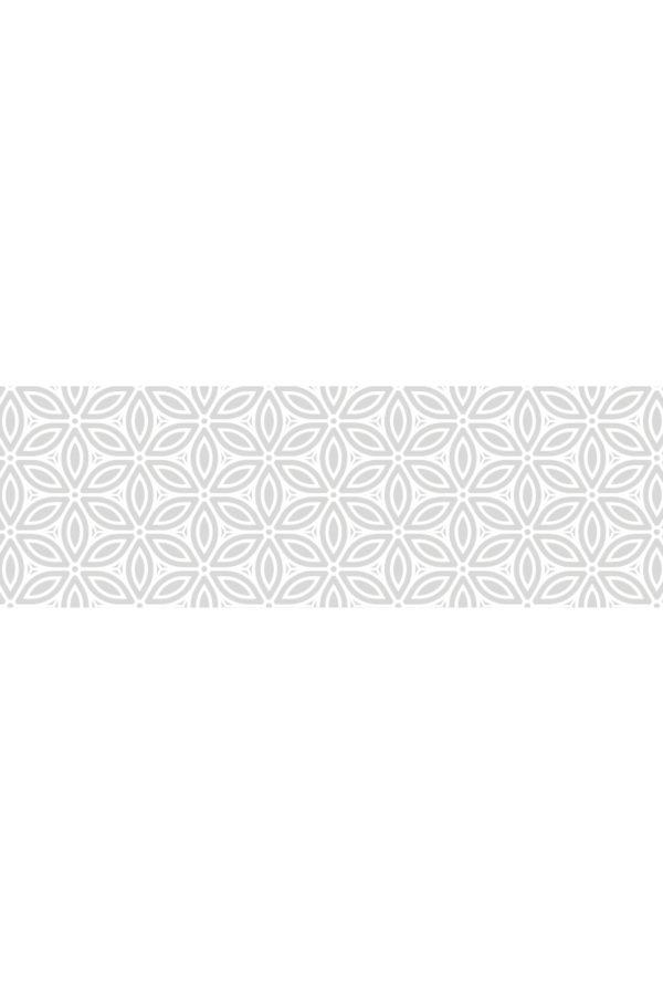 Alfombra vinílica Patrón Flores Vintage en gris suave y diseño en blanco talla M 180x60 cm