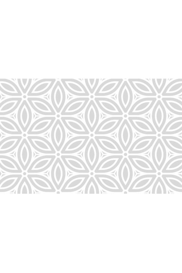 Alfombra vinílica Patrón Flores Vintage en gris suave y diseño en blanco talla S 96x80 cm