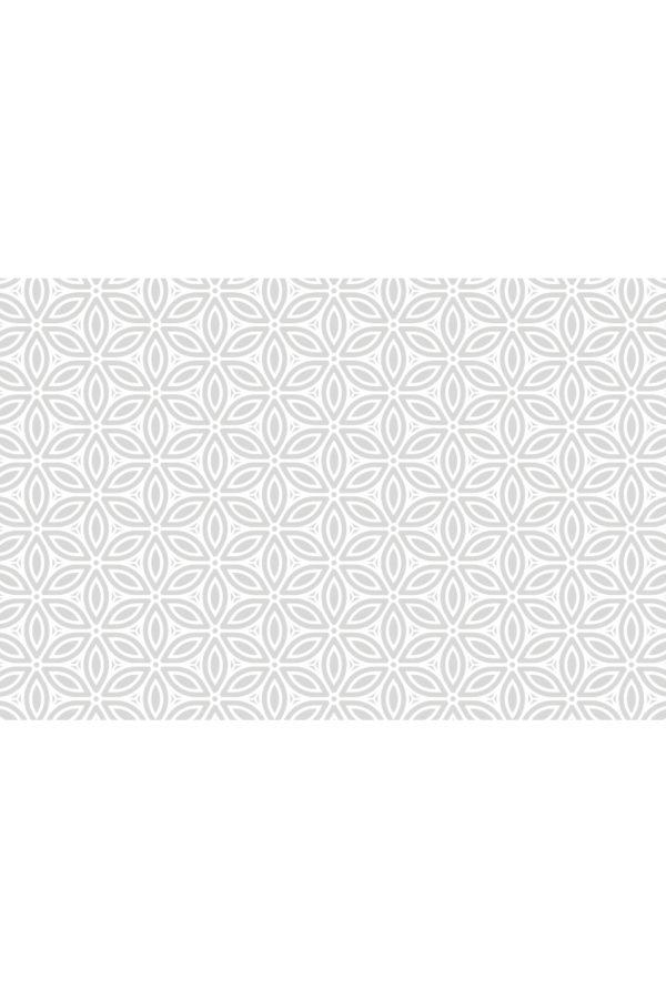 Alfombra vinílica Patrón Flores Vintage en gris suave y diseño en blanco talla XL 196x130 cm