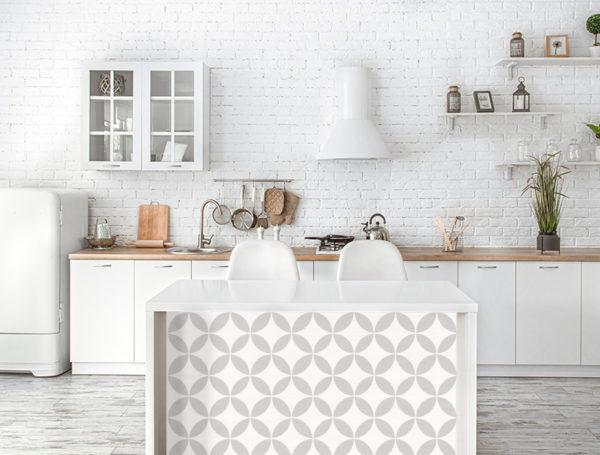 Modern stylish Scandinavian kitchen interior with kitchen accessories.