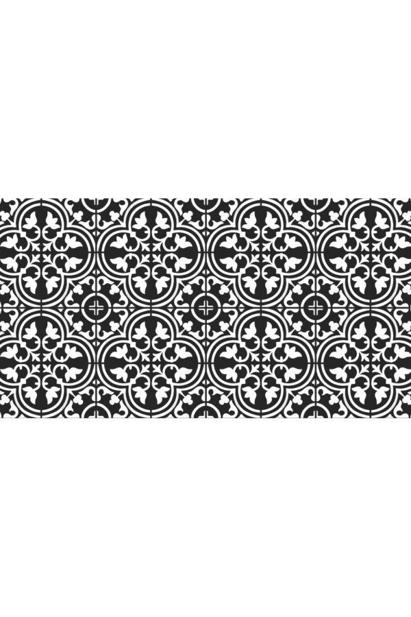 Alfombra vinílica baldosas mediterránea negra con dibujo en blanco talla L 150x80 cm