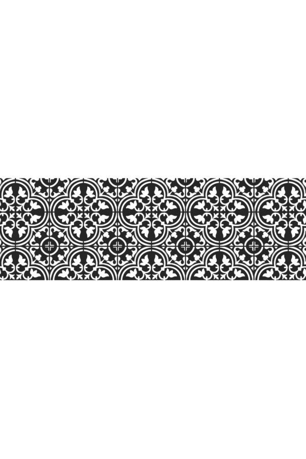 Alfombra vinílica baldosas mediterránea negra con dibujo en blanco talla M 180x60 cm