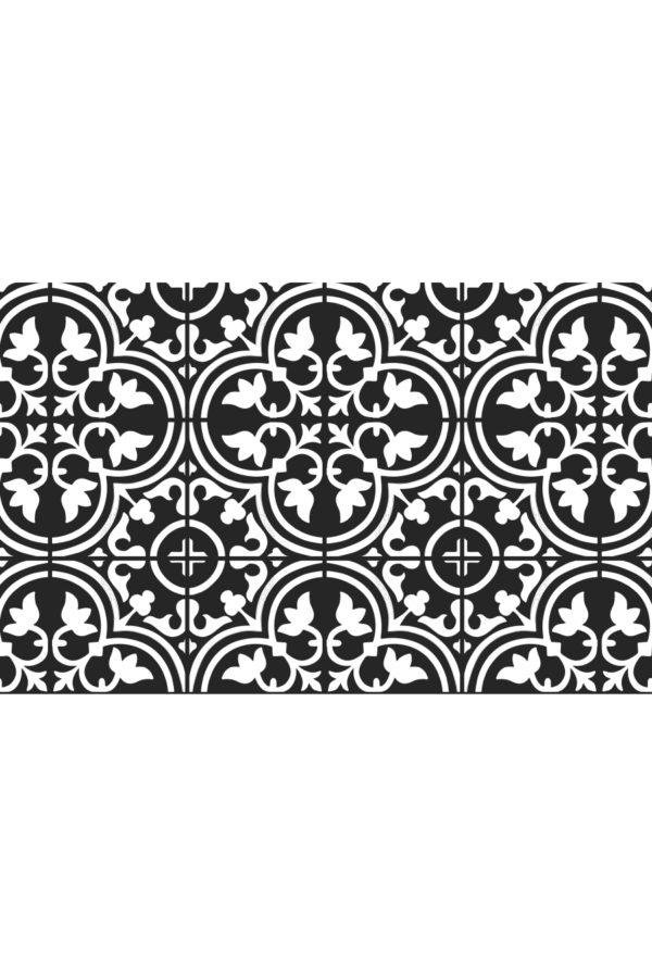 Alfombra vinílica baldosas mediterránea negra con dibujo en blanco talla S 95x60 cm
