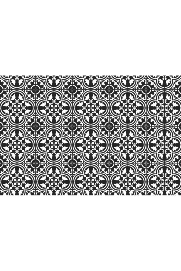 Alfombra vinílica baldosas mediterránea negra con dibujo en blanco talla XL 196x130 cm