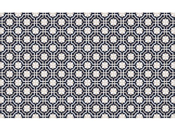 Suelo de vinilo, diseño de baldosas florales en azul marino Talla L 120x200 cm