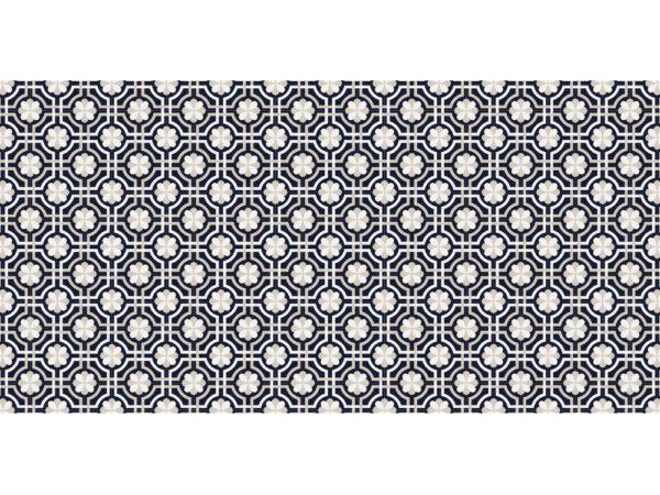 Suelo de vinilo, diseño de baldosas florales en azul marino Talla XL 120x240 cm