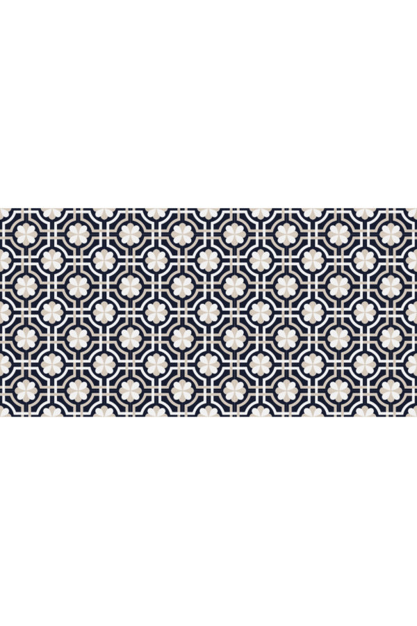 Alfombra vinílica baldosas classy azul marino talla L 160x80 cm