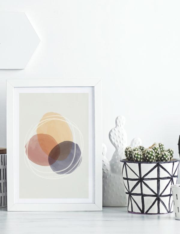 Lámina decorativa CMYK con paspartú y marco blanco