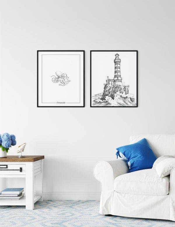 Lámina decorativa Grabado Faro con marco negro