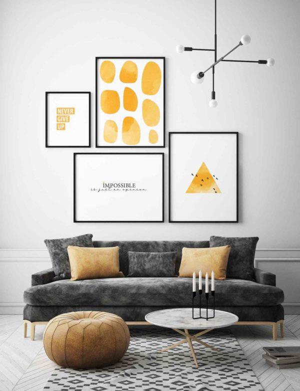 Composición de láminas de tonos anaranjados