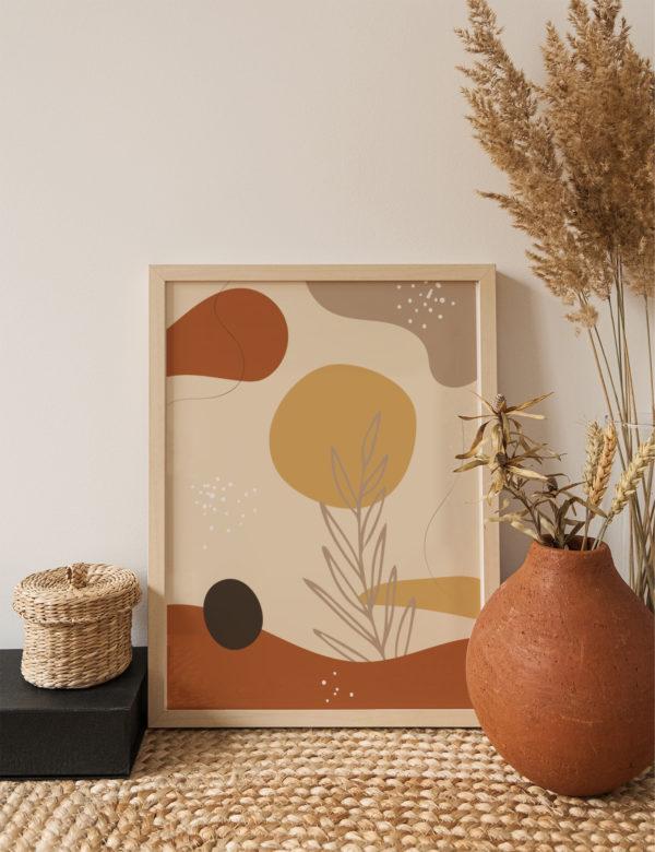 Lámina decorativa Formas Orgánicas Ocre con marco de madera