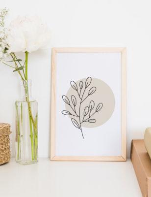 Lámina decorativa Planta Minimalista 1 con marco de madera