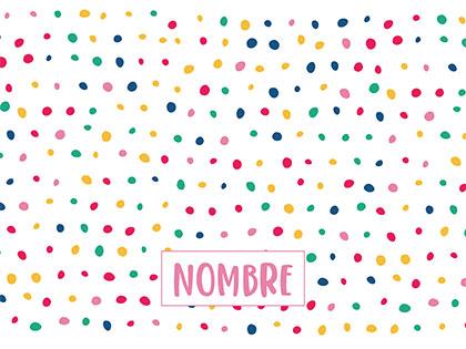 Alfombra para mascotas Confeti con nombre en rosa talla M 70x50 cm